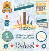 Vector Set: Back to School Labels and Icons Stock Illustration