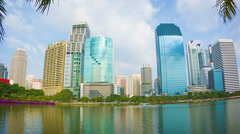 view of the skyscrapers of bangkok's from lumpini park - stock footage