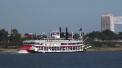 Paddle Wheel Steamer on Mississippi River Stock Footage