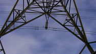 Stock Video Footage of High voltage electricity line pylon detail