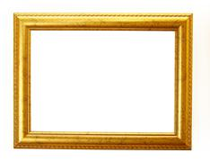 Gold frame clipping path Stock Photos