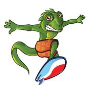 Surfing Lizard Mascot - stock illustration