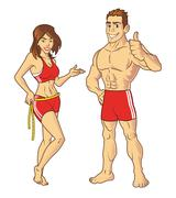 Stock Illustration of Fitness Models