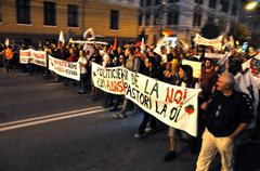 Citizens of Romania protesting against the cyanide mining in Rosia Montana Stock Photos