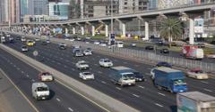 Ultra HD 4K Rush Hour Dubai Highway Freeway Sheikh Zayed Road Car Traffic Street Stock Footage