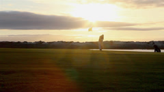 Golfer Sunset (Shot B) - Q.D.Lago, Algarve. Portugal Stock Footage