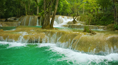 Forest kouang si waterfall, laos Stock Footage