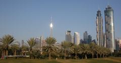 Ultra HD 4K UHD JW Marriott Marquis Hotel Burj Khalifa Dubai Skyline Safa Park Stock Footage