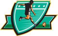 rugby player kicking ball shield retro - stock illustration