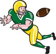 Stock Illustration of american football wide receiver catch ball cartoon