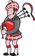 scotsman bagpiper bagpipes cartoon - stock illustration