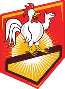 Rooster cockerel waving hello shield cartoon Stock Illustration