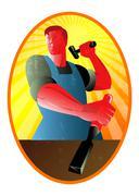 carpenter striking hammer chisel retro. - stock illustration