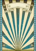 Textured blue retro poster Stock Illustration