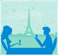 Young couple flirt and drink champagne in paris Stock Illustration