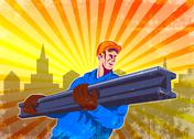 Stock Illustration of steel worker carry i-beam retro poster.