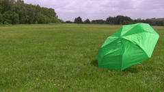 Umbrella, field and wind Stock Footage