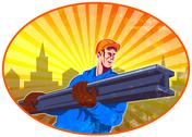 Stock Illustration of steel worker carry i-beam retro oval.