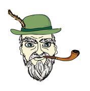 old man smoking pipe - stock illustration