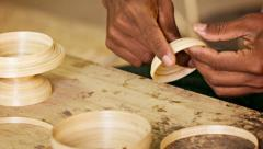 making bamboo utensils. workshop in mandalay, burma - stock footage