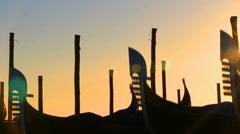 Sunset Gondolas  in Venice - stock footage
