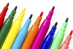 Multi colored felt tip pens Stock Photos