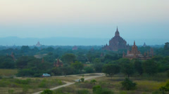 Bagan temples after sunset. view from above. Stock Footage