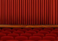 theater seats and red curtains - stock illustration