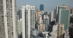 4K video of high rise Hong Kong apartment buildings Stock Footage