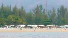 Kamala beach with tourists Stock Footage