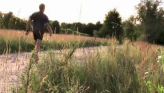 Doing nordic walking Stock Footage