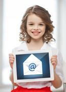 Girl with tablet pc and envelope icon Stock Illustration