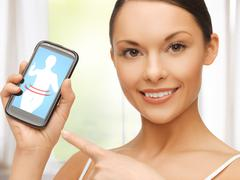 Woman pointing at smartphone with application Stock Illustration