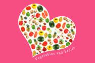 Stock Illustration of vegetables and fruits in white heart on pink background.