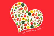 Stock Illustration of vegetables and fruits in white heart on red background.