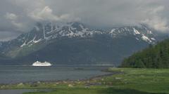 Cruise Ship in Alaska's Lynn Canal Haines Skagway 2 Stock Footage