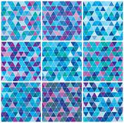 Stock Illustration of bright blue winter triangle pattern set