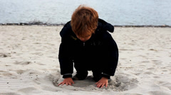 Child playing outside Stock Footage