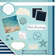 Scrapbooking set: summer journey Stock Illustration