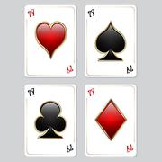 Playing cards, aces Stock Illustration
