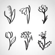 Ink style  sketch set - spring flowers Stock Illustration