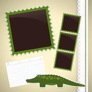 Valokuva-albumin sivu krokotiili Piirros