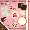 Stock Illustration of scrapbooking set: tea time