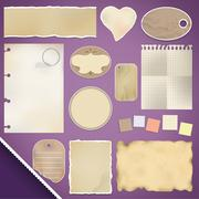 scrapbooking set: torn paper - stock illustration