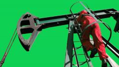 Oil Worker and Pump Jack Green Screen Stock Footage