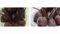 Superfood Beetroot above and side view Stock Footage