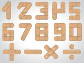 Stock Illustration of number set from 0 to 9 plus other mathematical signs
