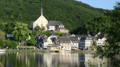 Village Beilstein at Mosel River. The Church bells are rining Stock Footage