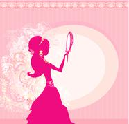 Stock Illustration of girl and jewellerys - abstract background