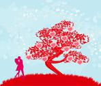 Stock Illustration of greeting card with silhouette of romantic couple